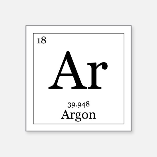 "Elements - 18 Argon Square Sticker 3"" x 3"""