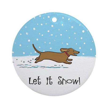 Dachshund Let it Snow Ornament (Round)