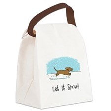 Dachshund Let it Snow Canvas Lunch Bag