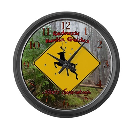 Redneck huntin guides Large Wall Clock