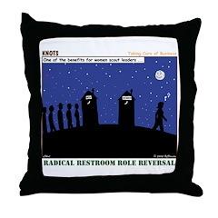 Restroom Role Reversal Throw Pillow