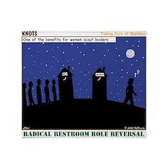 Restroom Role Reversal Throw Blanket
