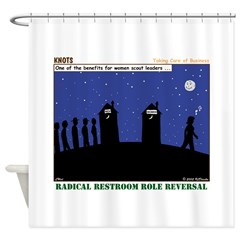 Restroom Role Reversal Shower Curtain