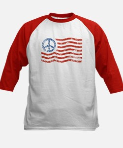 Kids Peace Sign American Flag Tee