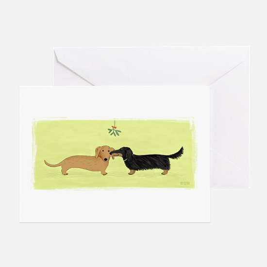Dachshund Christmas Kiss Greeting Card