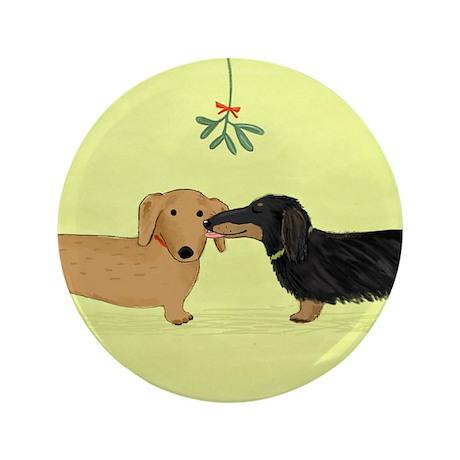 """Dachshund Christmas Kiss 3.5"""" Button"""