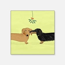"Dachshund Christmas Kiss Square Sticker 3"" x 3"""