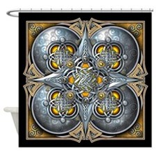 Silver & Yellow Celtic Tapestry Shower Curtain
