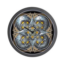 Silver & Yellow Celtic Tapestry Wall Clock