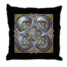 Silver & Yellow Celtic Tapestry Throw Pillow