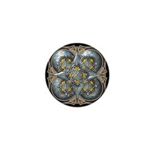 Silver & Yellow Celtic Tapestry Mini Button