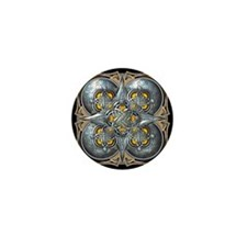 Silver & Yellow Celtic Tapestry Mini Button (10 pa