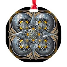 Silver & Yellow Celtic Tapestry Ornament