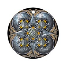 Silver & Yellow Celtic Tapestry Ornament (Round)