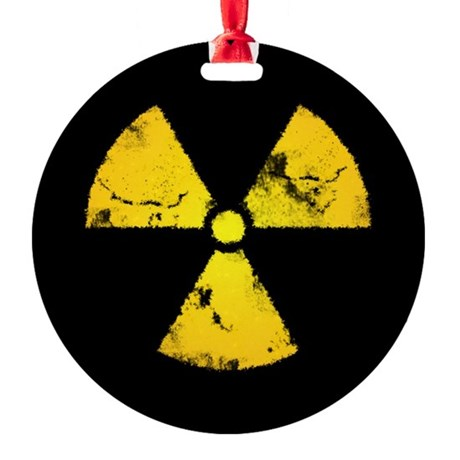 Distressed Radiation Symbol Round Ornament