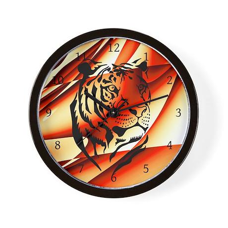Orange Tribal Wild Animal Wall Clock