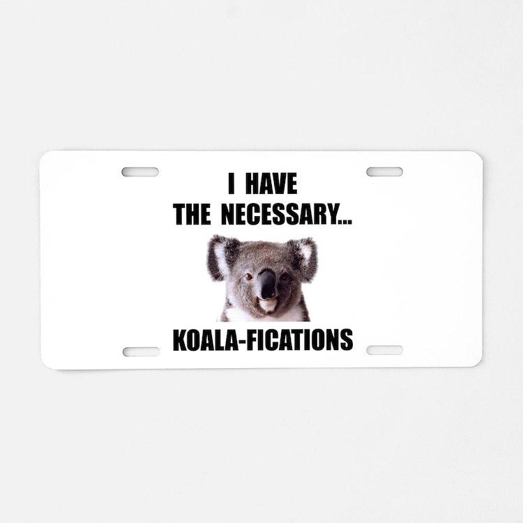 Koala Qualifications Aluminum License Plate