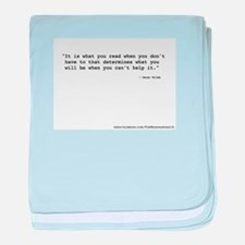 """""""It's what you read"""" Wilde baby blanket"""