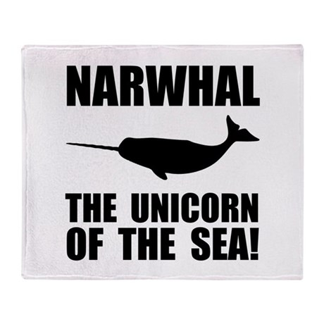 Narwhal Unicorn Throw Blanket
