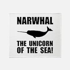 Narwhal Unicorn Throw Blanket