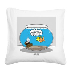 Fishbowl Treasure Square Canvas Pillow