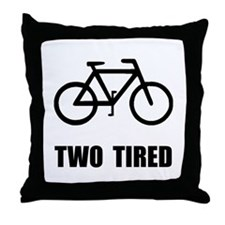Two Tired Bike Throw Pillow