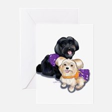 Havanese and Morkie Couple Greeting Cards (Pk of 1