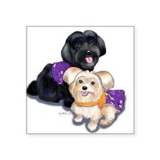 """Havanese and Morkie Couple Square Sticker 3"""" x 3"""""""