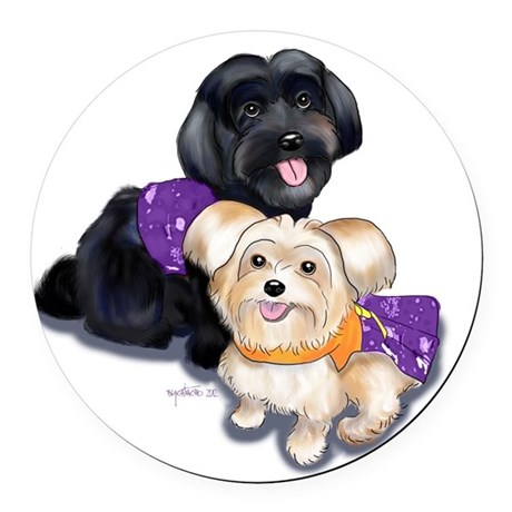 Havanese and Morkie Couple Round Car Magnet