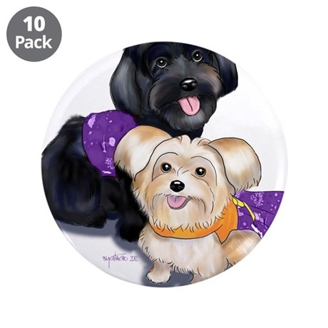 "Havanese and Morkie Couple 3.5"" Button (10 pack)"