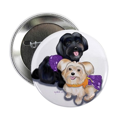 """Havanese and Morkie Couple 2.25"""" Button"""
