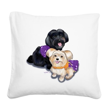 Havanese and Morkie Couple Square Canvas Pillow