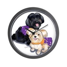 Havanese and Morkie Couple Wall Clock