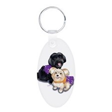 Havanese and Morkie Couple Aluminum Oval Keychain