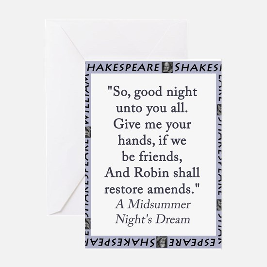 So Good Night Unto You All Greeting Card