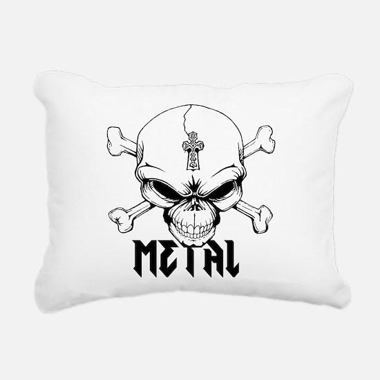 Metal Skull Rectangular Canvas Pillow