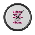 Binders Full of Women for Obama Large Wall Clock