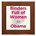 Binders Full of Women for Obama Framed Tile