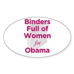 Binders Full of Women for Obama Sticker (Oval 50 p