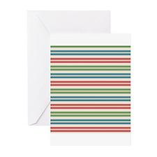 Horizontal Tropical Stripes Greeting Cards (Pk of