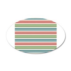 Horizontal Tropical Stripes 35x21 Oval Wall Decal