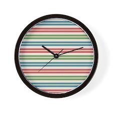 Horizontal Tropical Stripes Wall Clock