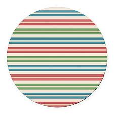 Horizontal Tropical Stripes Round Car Magnet