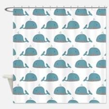 Whale Print Shower Curtain