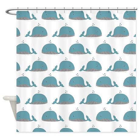 Whale Print Shower Curtain