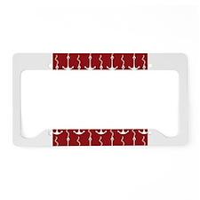 Red White Anchor Print License Plate Holder