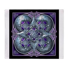Silver & Purple Celtic Tapestry Throw Blanket
