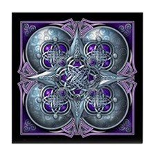 Silver & Purple Celtic Tapestry Tile Coaster