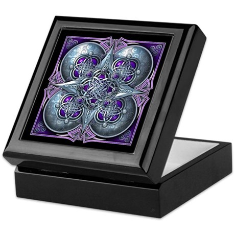 Silver & Purple Celtic Tapestry Keepsake Box