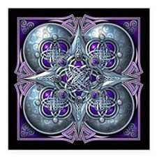 Silver & Purple Celtic Tapestry Square Car Magnet